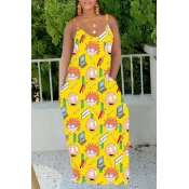 Lovely Casual Cartoon Print Yellow Maxi Dress