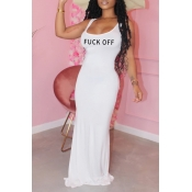 Lovely Leisure Letter White Maxi Dress