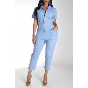 Lovely Stylish Buttons Design Blue One-piece Jumps