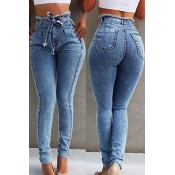 Lovely Stylish Lace-up Baby Blue Plus Size Jeans
