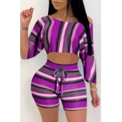 Lovely Casual Striped Purple Plus Size Two-piece S