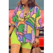 Lovely Casual Print MulticolorTwo-piece Shorts Se