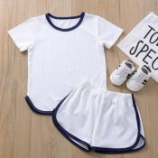 Lovely Casual Patchwork White Boy Two-piece Shorts