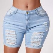 Lovely Stylish Broken Holes Blue Shorts