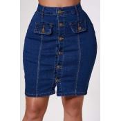 Lovely Trendy Buttons Design Blue Skirt