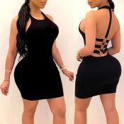 Lovely Sexy Backless Black Mini Dress
