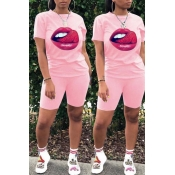 Lovely Leisure Lip Print Light Pink Two-piece Shor