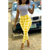 Lovely Leisure Grid Yellow Two-piece Pants Set