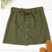 Lovely Trendy Buttons Design Army Green Skirt