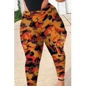 Lovely Casual Camo Print Orange Plus Size Pants