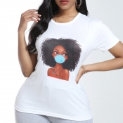 Lovely Casual O Neck Print White T-shirt