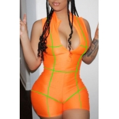 Lovely Leisure Zipper Design Orange One-piece Romp