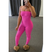 Lovely Sexy Fold Design Rose Red One-piece Jumpsui