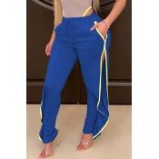 Lovely Casual Side High SlitBlue Pants