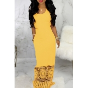 Lovely Trendy Patchwork Yellow Maxi Dress