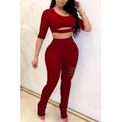 Lovely Leisure Hollow-out Wine Red Two-piece Pants