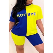 Lovely Leisure Letter Patchwork Blue Plus Size Two-piece Shorts Set
