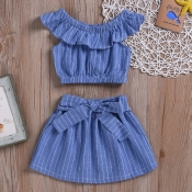 Lovely Stylish Striped Deep Blue Girl Two-piece Sk
