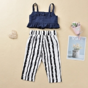 Lovely Stylish Striped Deep Blue Girl Two-piece Pa