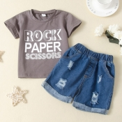 Lovely Casual Letter Print Grey Boy Two-piece Shor