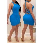 Lovely Sexy Backless Blue Mini Dress