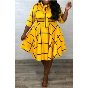 Lovely Casual Print Yellow Knee Length Plus Size D