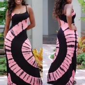 Lovely Casual Print Pink Maxi Plus Size Dress