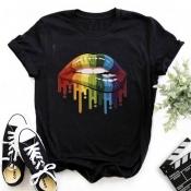 Lovely Casual O Neck Lip Print Black T-shirt