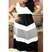 Lovely Casual Patchwork White Maxi Plus Size Dress