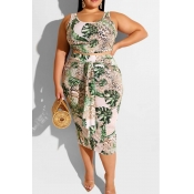 Lovely Trendy Plants Print Green Plus Size Two-pie
