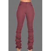 Lovely Casual Fold Design Wine Red Pants