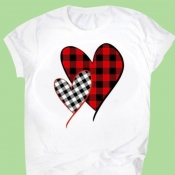Lovely Leisure O Neck Print Red T-shirt