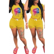 Lovely Leisure O Neck Lip Print Yellow Two-piece Shorts Set