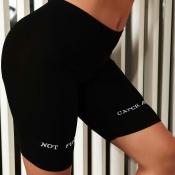 Lovely Sportswear Letter Pitch-black Shorts