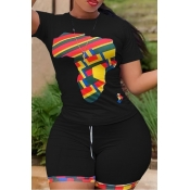 Lovely Casual O Neck Print Black Plus Size Two-piece Shorts Set