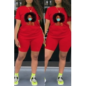 Lovely Leisure Print Red Plus Size Two-piece Short