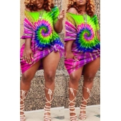 Lovely Casual Tie-dye Multicolor Knee Length Plus Size Dress