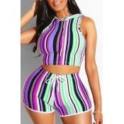 Lovely Stylish Striped Purple Plus Size Two-piece