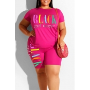 Lovely Leisure Letter Print Pink Plus Size Two-pie