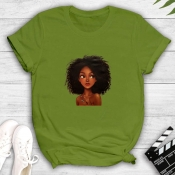 Lovely Leisure O Neck Print Green T-shirt