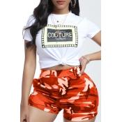 lovely Leisure Camo Print Orange Two-piece Shorts