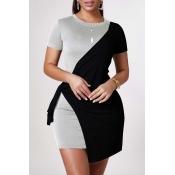 lovely Leisure Patchwork Grey Mini Dress