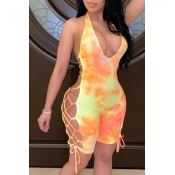 Lovely Sexy Tie-dye Yellow One-piece Romper