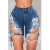 lovely Trendy Hollow-out Deep Blue Shorts