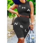 Lovely Casual Letter Black Two-piece Skirt Set