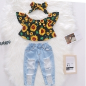 lovely Trendy Sunflower Print Yellow Girl Two-piece Pants Set