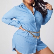 lovely Casual Buttons Design Baby Blue Plus Size C