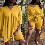 lovely Leisure V Neck Basic Yellow Plus Size Two-piece Shorts Set
