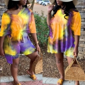 Lovely Leisure Tie-dye Yellow Plus Size Two-piece Shorts Set