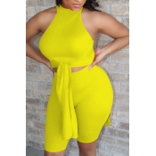 lovely Stylish Lace-up Yellow Two-piece Shorts Set